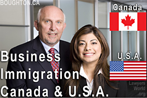 Saba Naqvi, JD USA Immigration Attorney, standing with Bruce Harwood, Canada Immigration  Lawyer - in  their offices at BOUGHTON in downtown Vancouver BC, - serve clients throughout the BC and USA west coast states